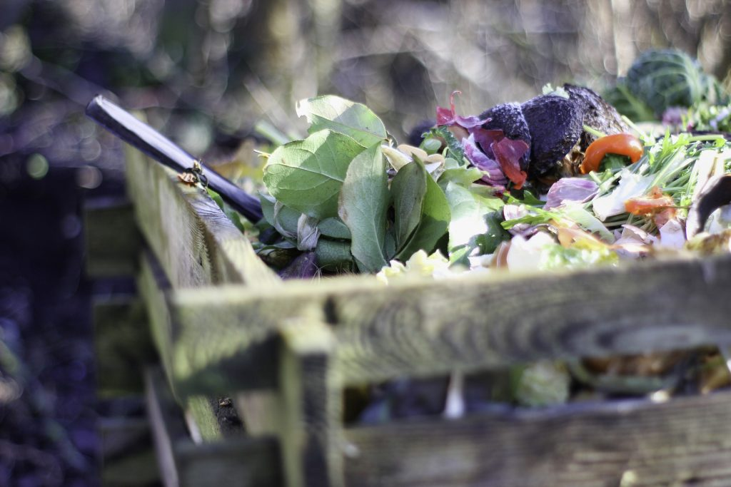 garden compost heap with food waste